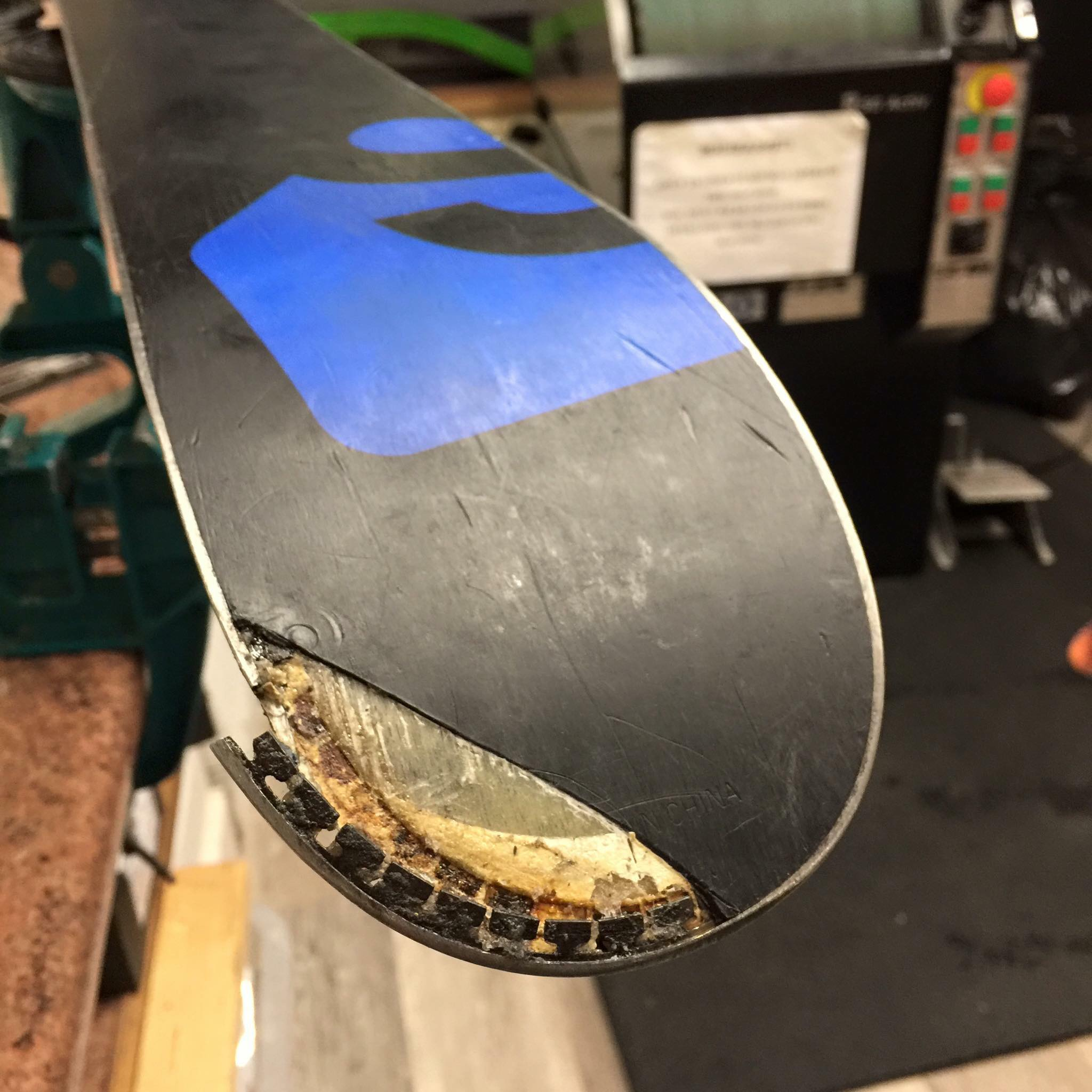 broken snowboard
